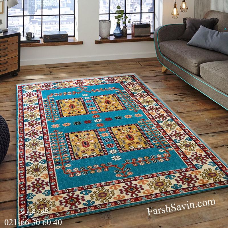 فرش ساوین قشقایی آبی فرش خاص