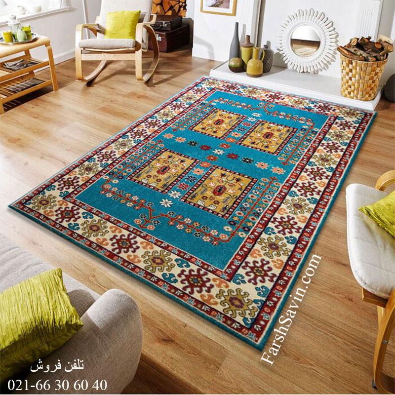 فرش ساوین قشقایی آبی فرش سنتی