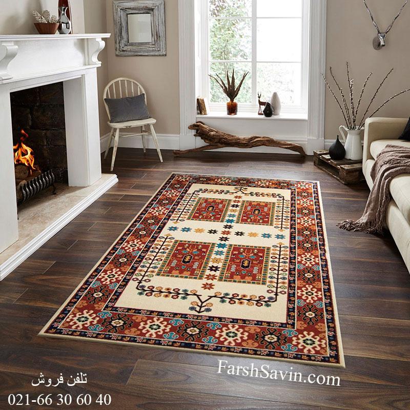 فرش ساوین قشقایی کرم فرش سنتی