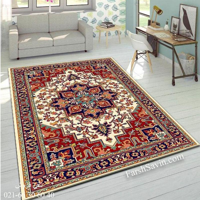فرش ساوین هریس 2 کرم فرش سنتی