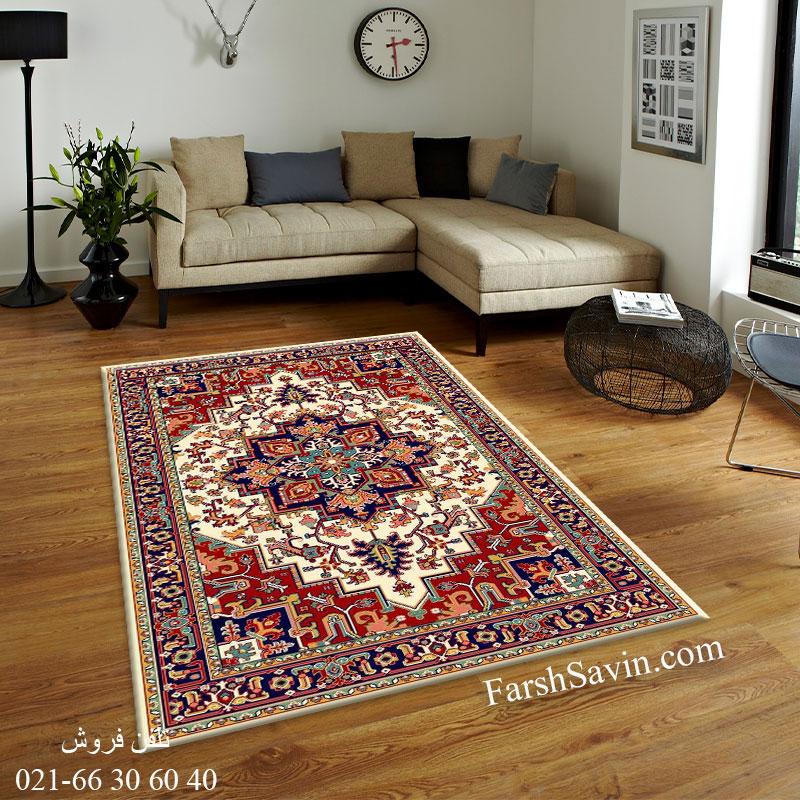 فرش ساوین هریس 2 کرم فرش عشایری