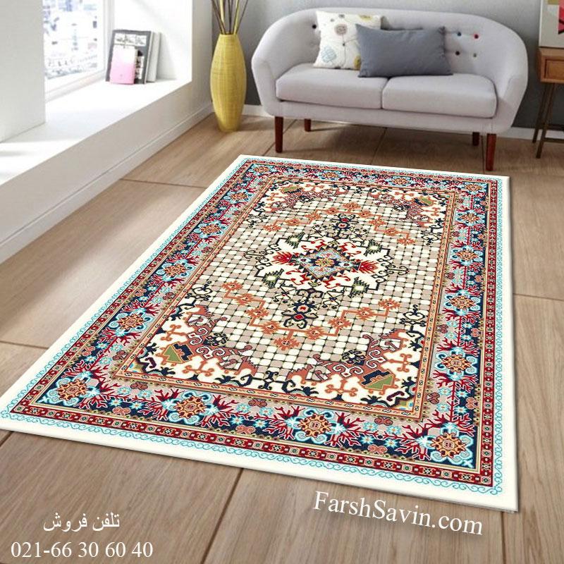 فرش ساوین حوض کاشی کرم فرش مناسب اتاق پذیرایی