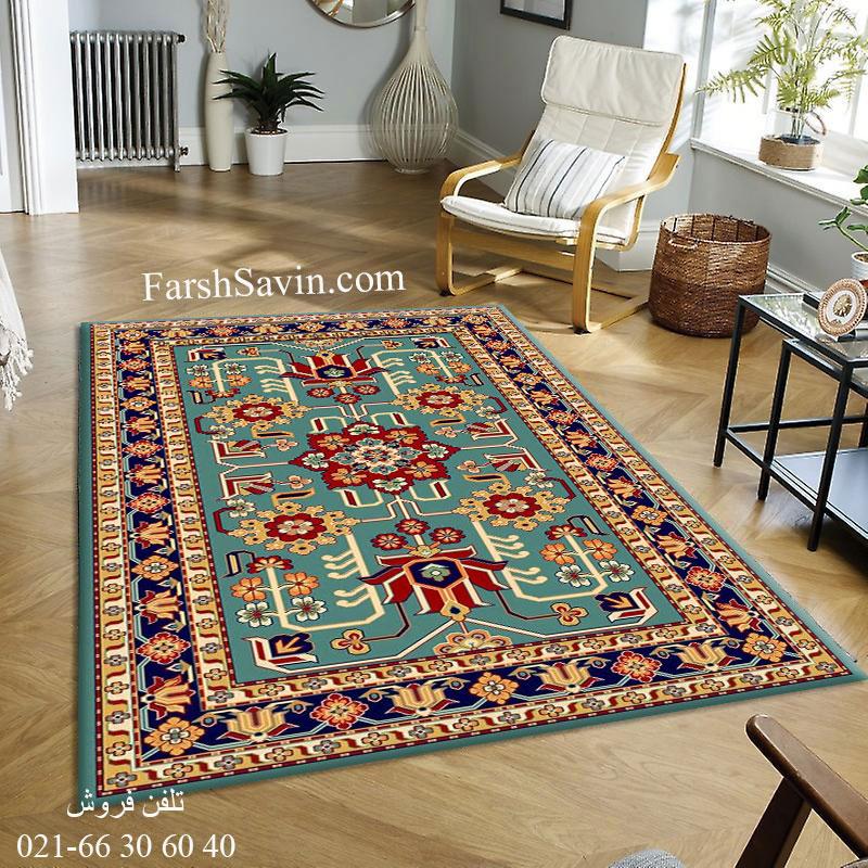 فرش ساوین مهربان 2 آبی فرش خوش نقشه