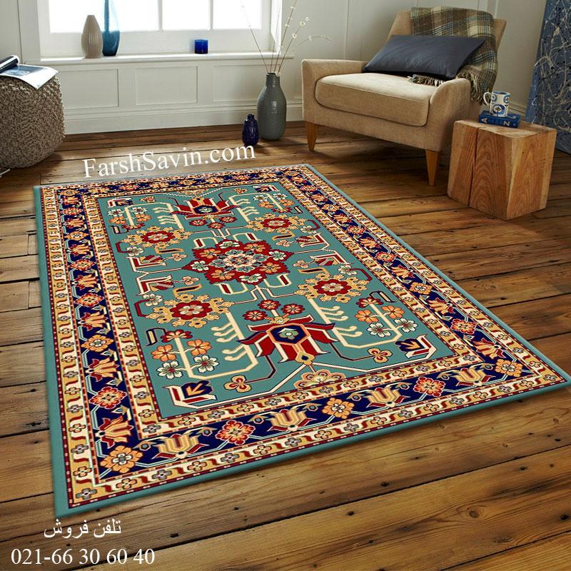 فرش ساوین مهربان 2 آبی فرش پرفروش