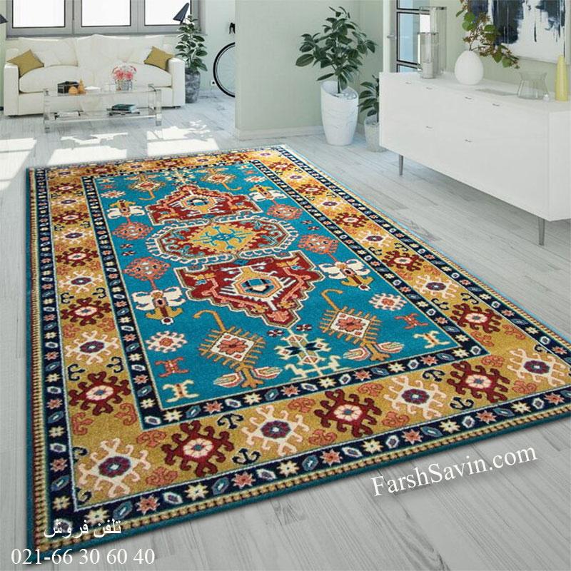 فرش ساوین طوبی آبی فرش شیک