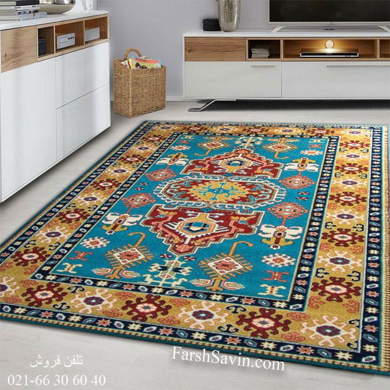 فرش ساوین طوبی آبی فرش سنتی
