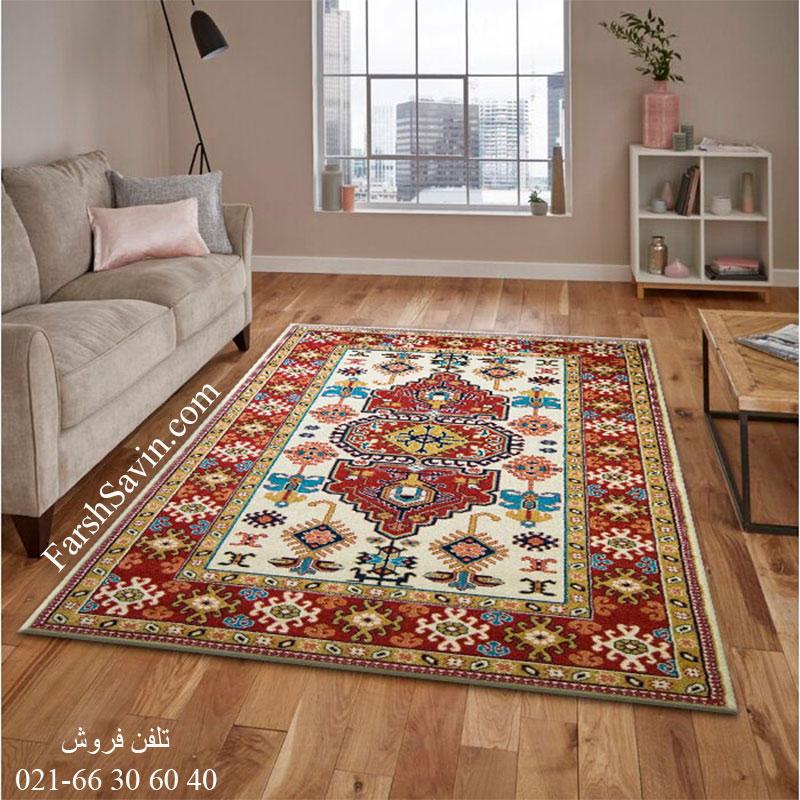 فرش ساوین طوبی کرم فرش ارزان