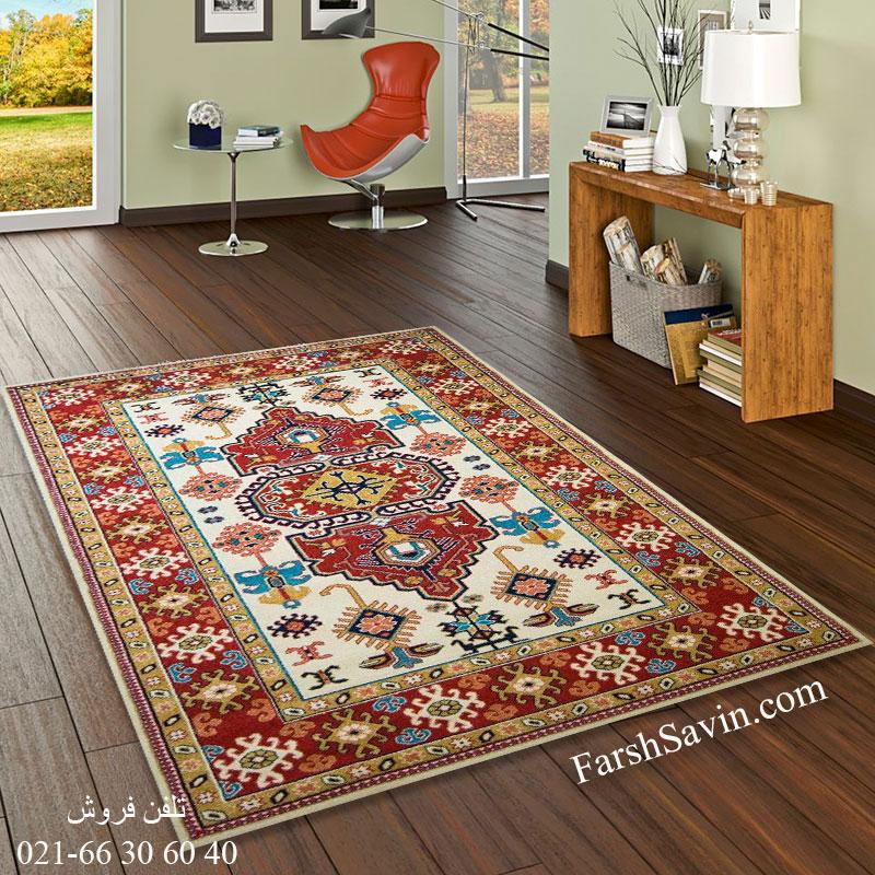 فرش ساوین طوبی کرم فرش خوش نقشه