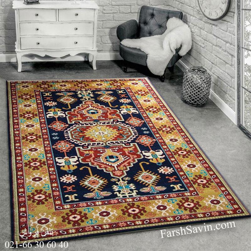 فرش ساوین طوبی سرمه ای فرش خوشگل