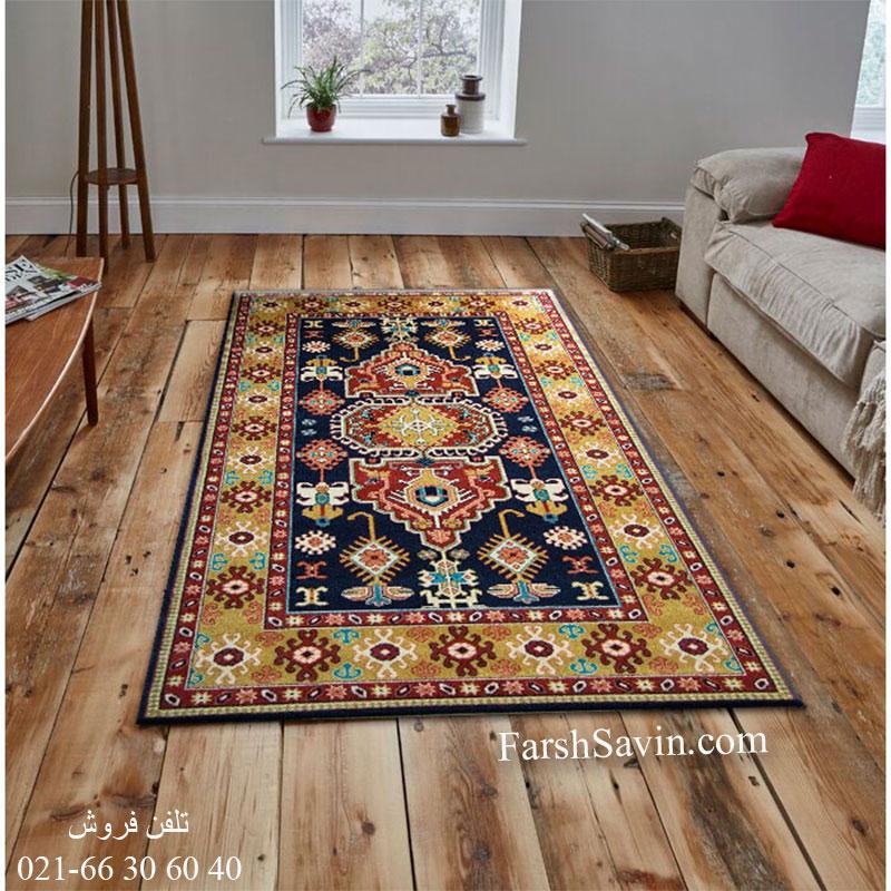 فرش ساوین طوبی سرمه ای فرش سنتی