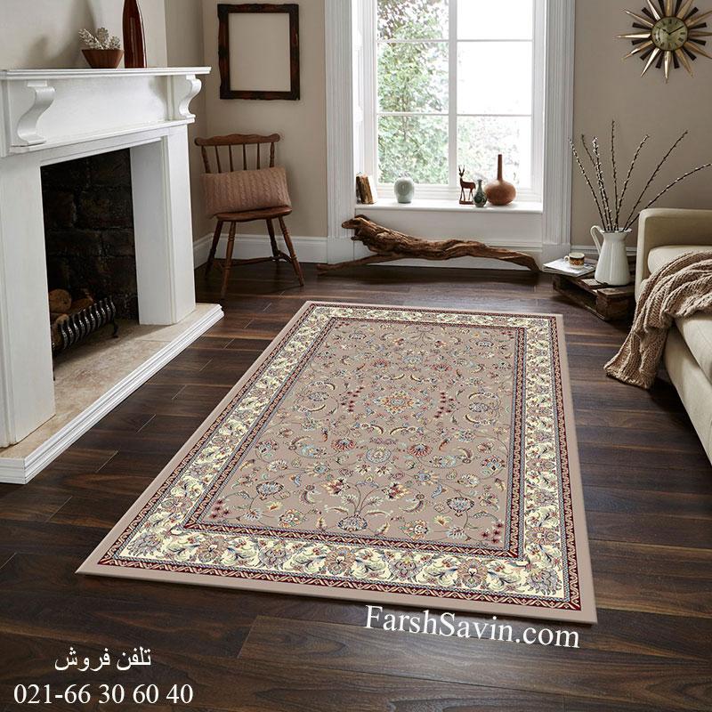 فرش ساوین 4501 شتری فرش کلاسیک