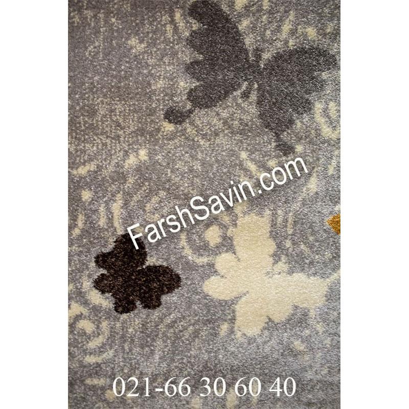 فرش ساوین 1641 نقره ای روشن فرش ارزان