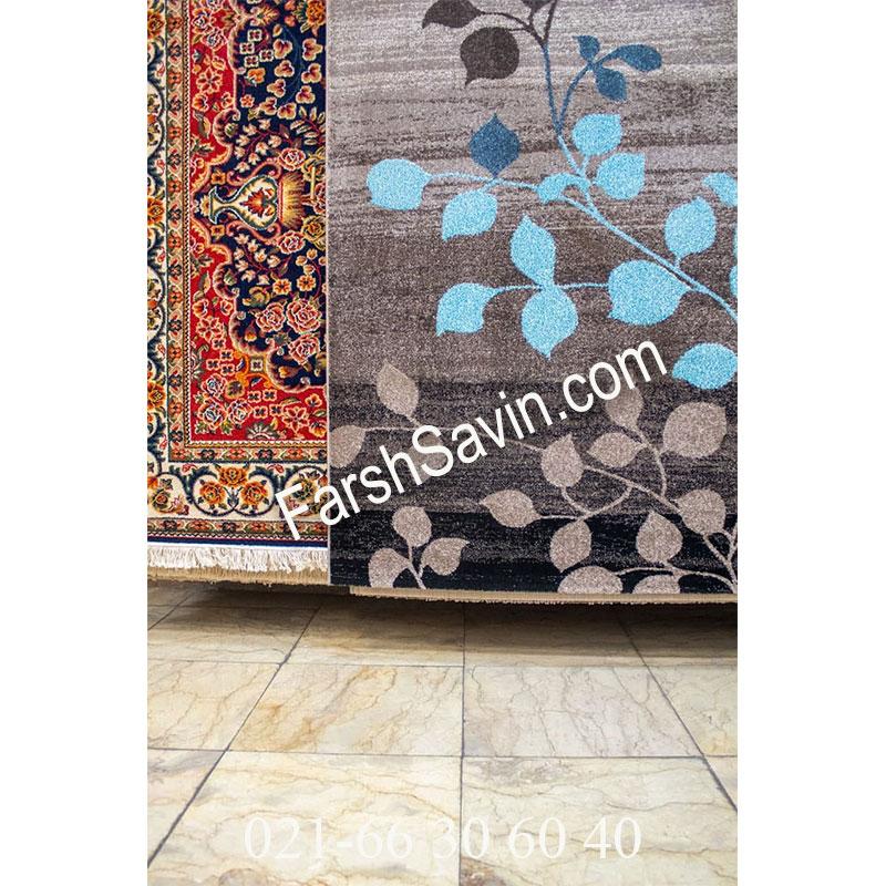 فرش ساوین 4001 شکلاتی فرش فانتزی