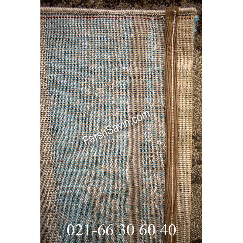 فرش ساوین 4002 شکلاتی فرش خوش رنگ