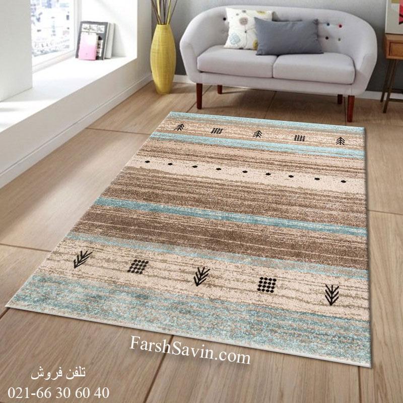 فرش ساوین 4002 شکلاتی فرش پذیرایی