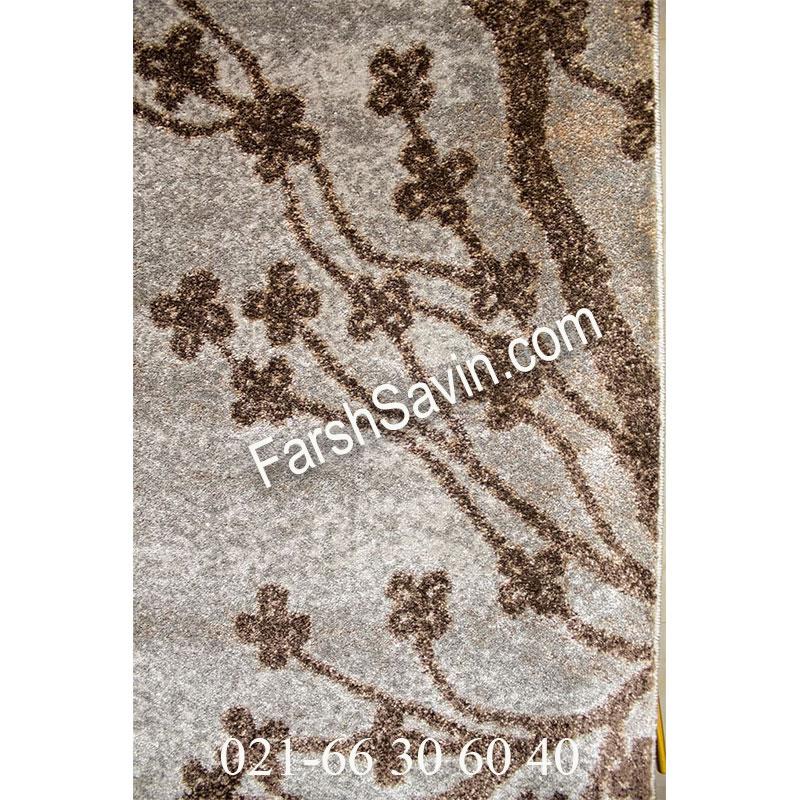 فرش ساوین 4006 نقره ای فرش گلدار
