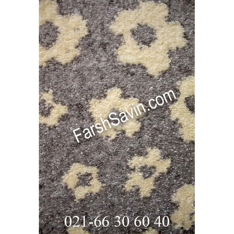 فرش ساوین 4007 نقره ای فرش خوش رنگ