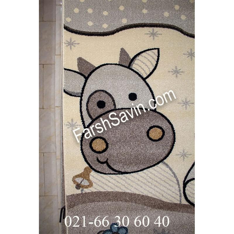 فرش ساوین 4034 حیوانات مزرعه فرش خوشگل