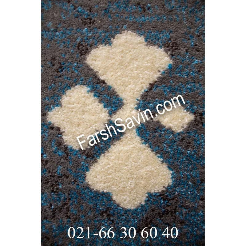 فرش ساوین 4036 آبی فرش زیبا