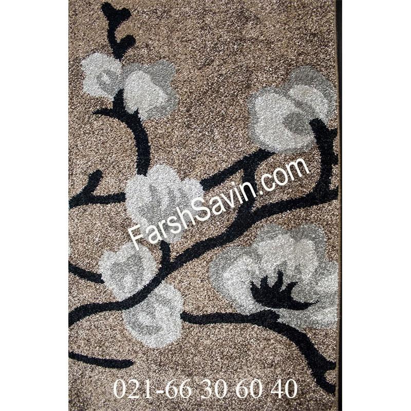 فرش ساوین 4038 شکلاتی فرش مدرن