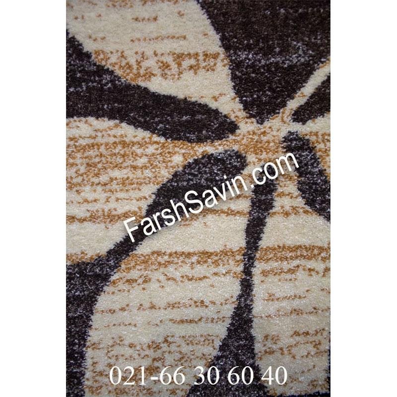 فرش ساوین 4039 نسکافه ای فرش طرح دار