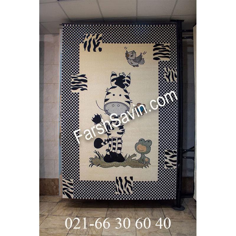فرش ساوین 4057 کرم فرش با کیفیت