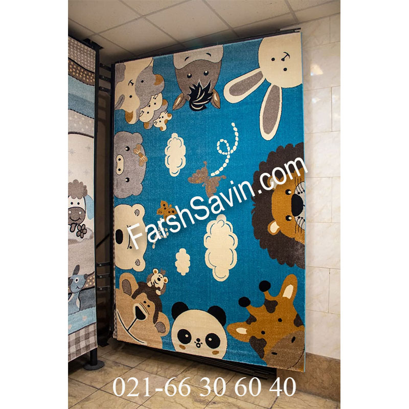 فرش ساوین 4058 آبی فرش مدرن