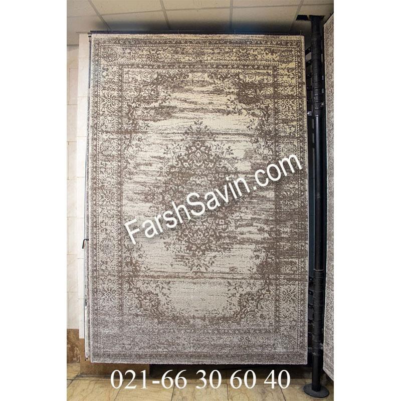 فرش ساوین 4062 نقره ای فرش خوش رنگ