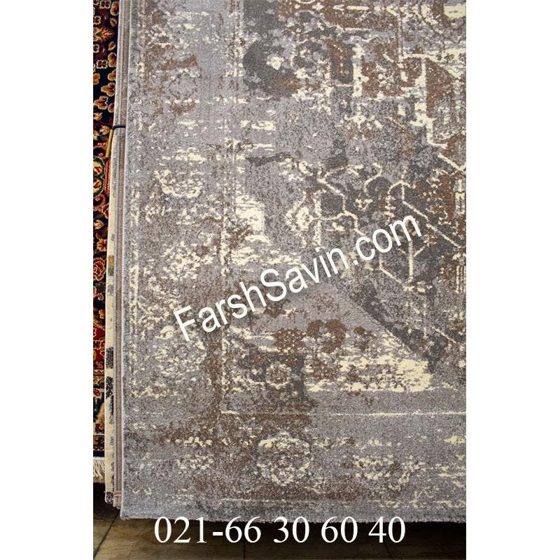 فرش ساوین 4083 نقره ای مشکی فرش زیبا