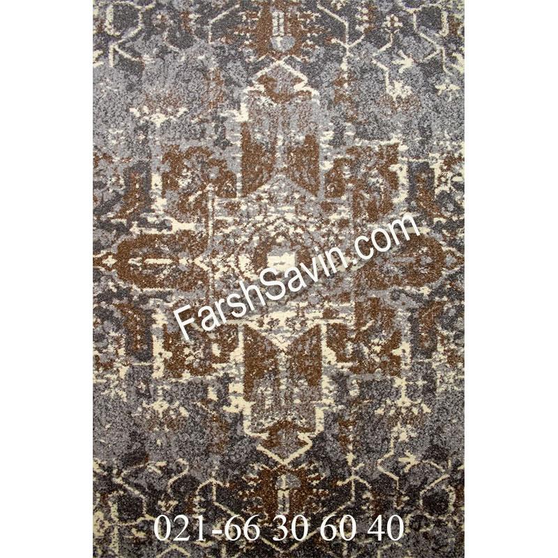 فرش ساوین 4082 نقره ای روشن فرش اتاق خواب
