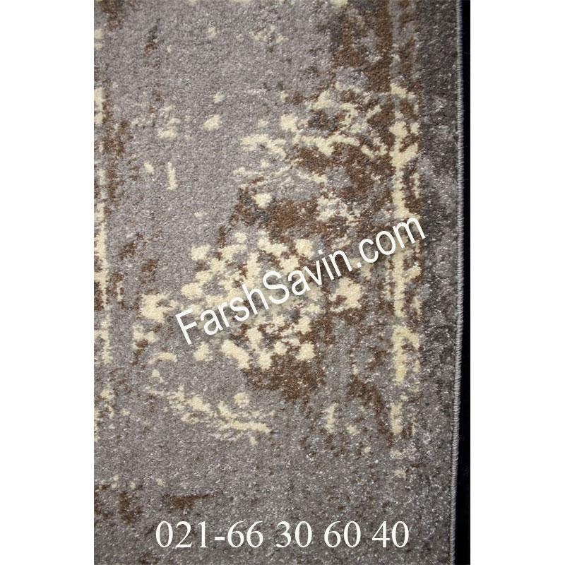 فرش ساوین 4083 نقره ای مشکی فرش بادوام