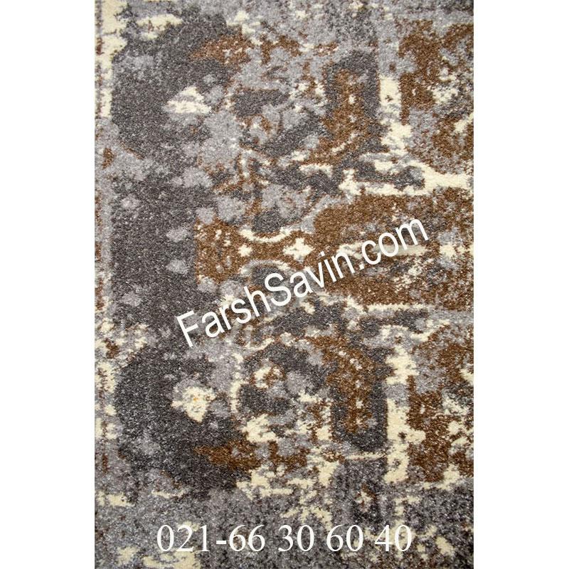 فرش ساوین 4082 نقره ای روشن فرش خاص
