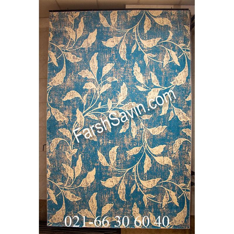 فرش ساوین 4089 آبی فرش ارزشمند