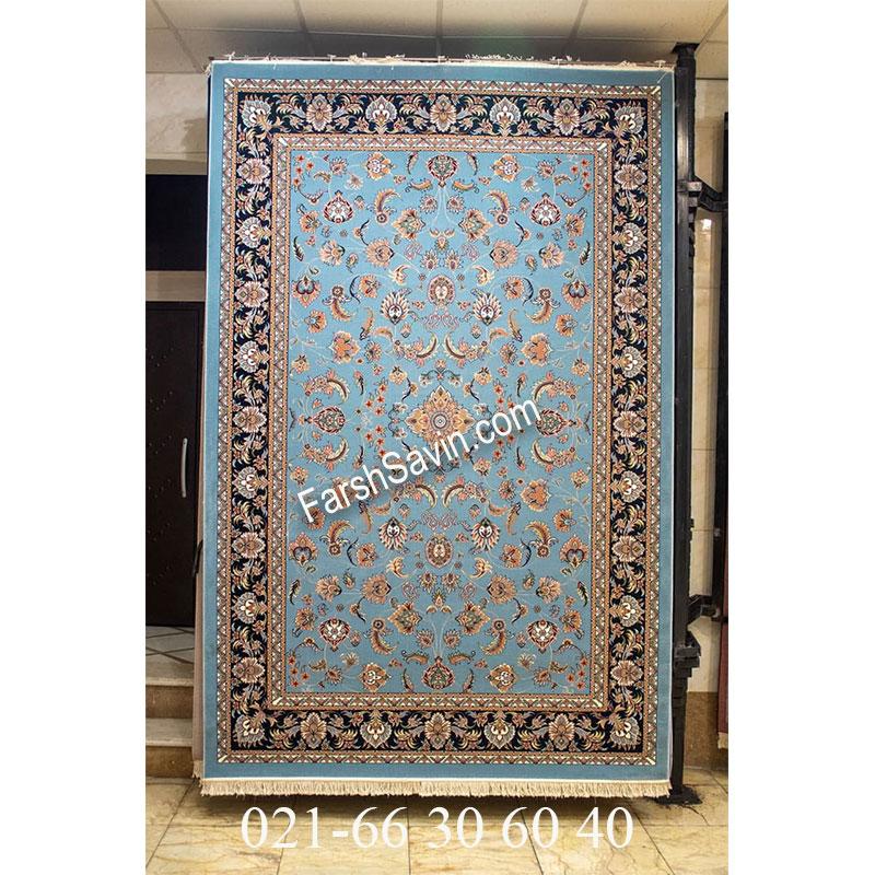 فرش ساوین 4501 آبی فرش خوش رنگ