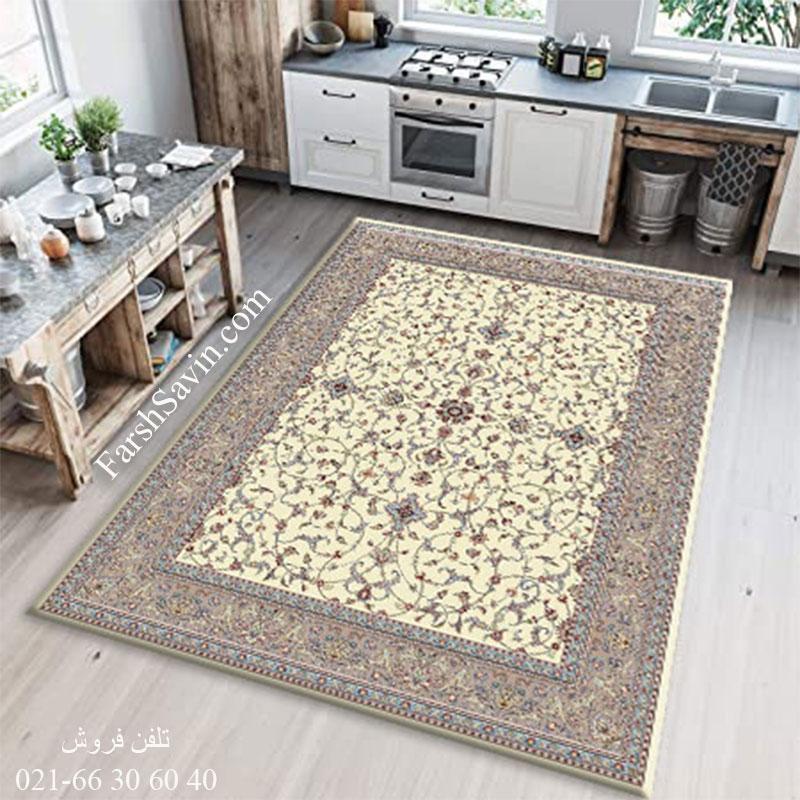 فرش ساوین 4503 کرم فرش خوش رنگ