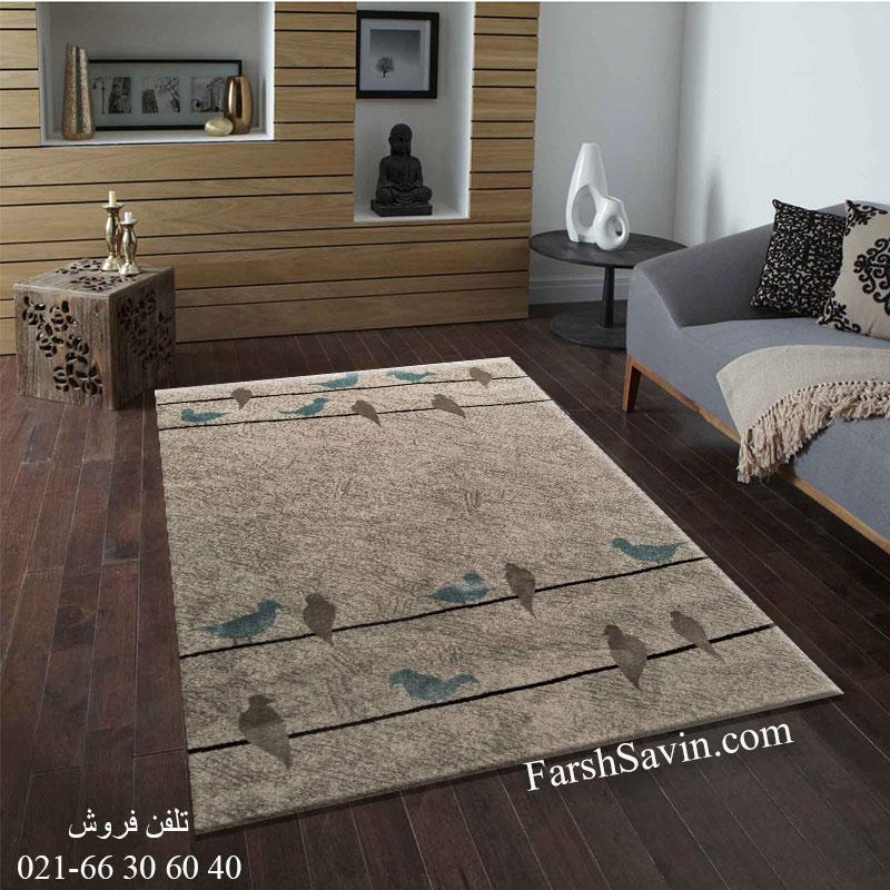 فرش ساوین 4008 نقره ای فرش پذیرایی