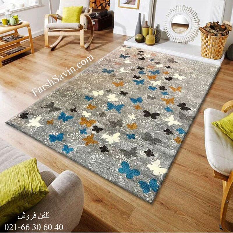 فرش ساوین 1641 نقره ای روشن فرش اتاق خواب