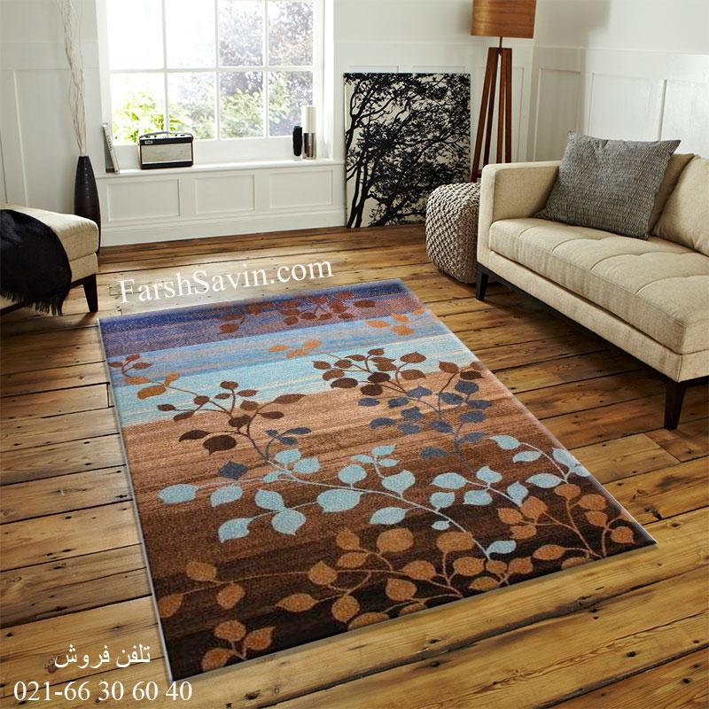 فرش ساوین 4001 شکلاتی فرش سنتی
