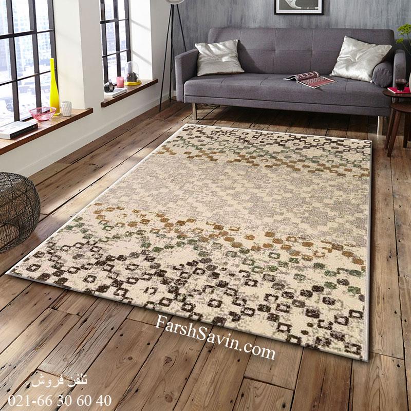 فرش ساوین 4005 کرم فرش پذیرایی