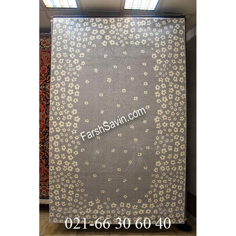 فرش ساوین 4007 نقره ای فرش سنتی