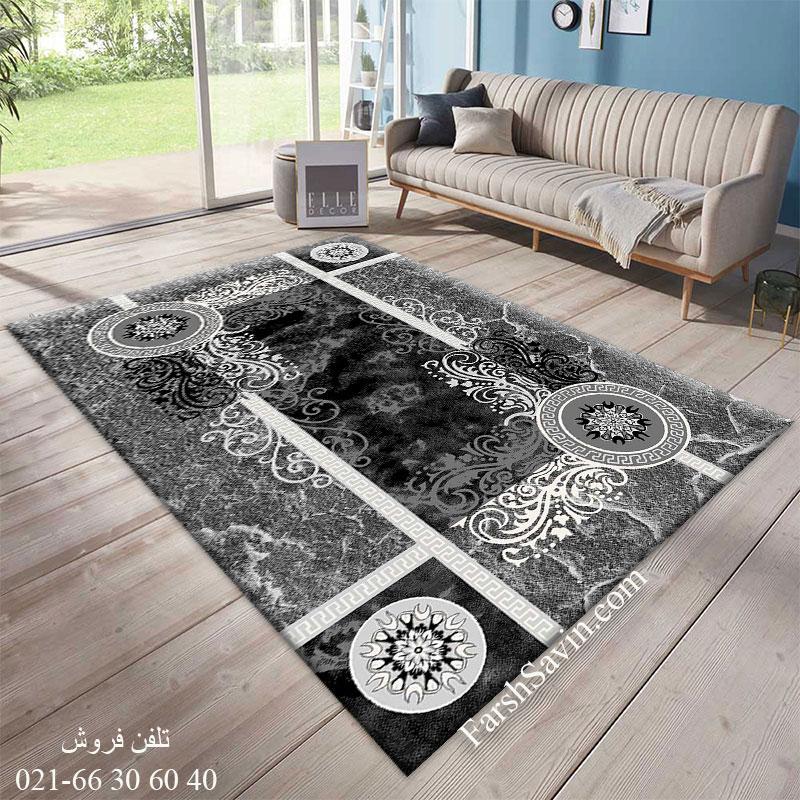 فرش ساوین 4010 مشکی فرش بادوام
