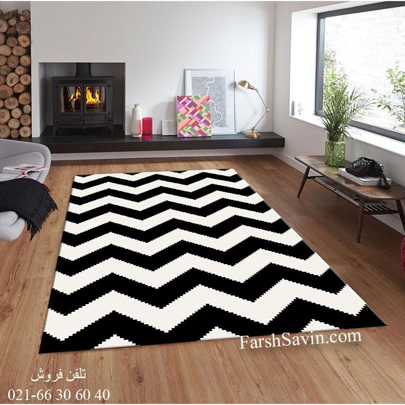 فرش ساوین 4019 سفید مشکی فرش خوش نقشه