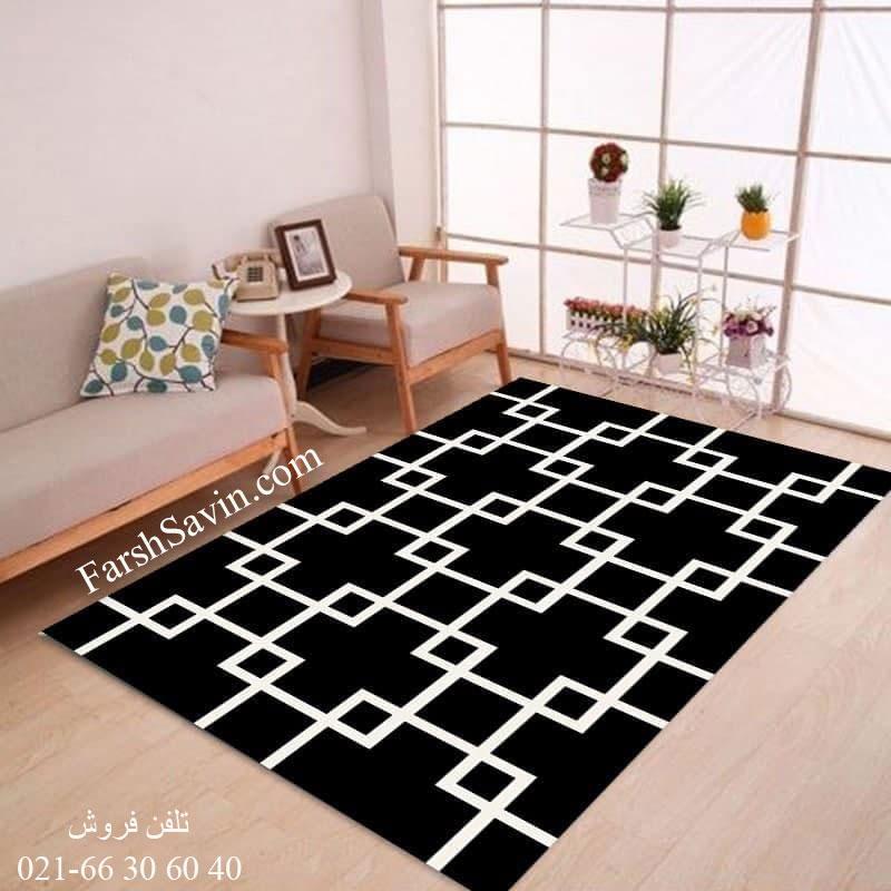 فرش ساوین 4023 مشکی فرش با کیفیت