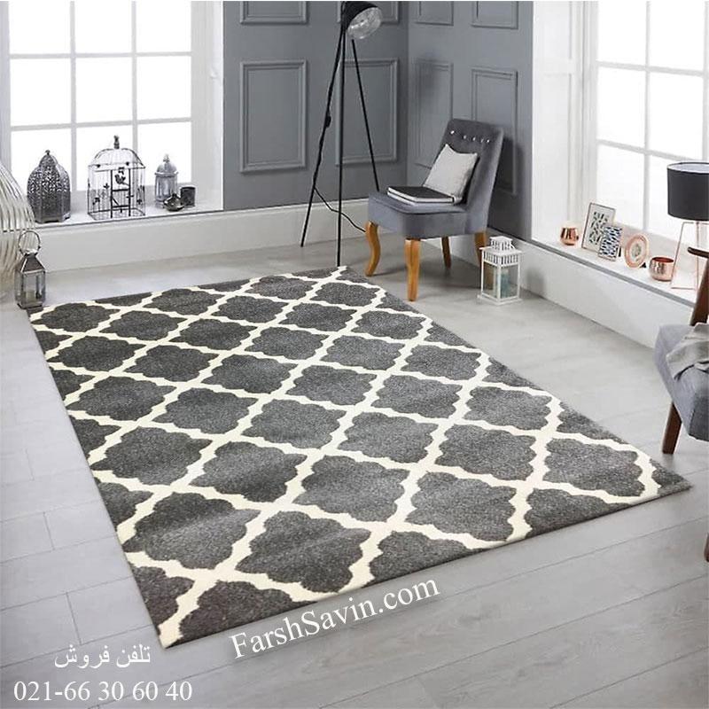 فرش ساوین 4025 طوسی فرش زیبا