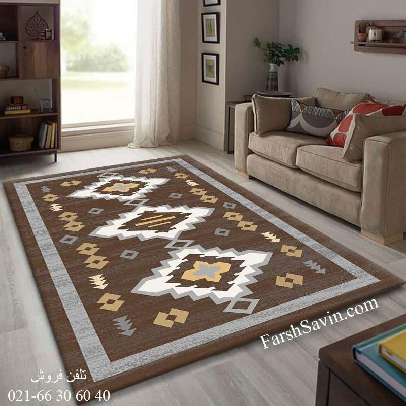 فرش ساوین 4032 نسکافه ای فرش خوش رنگ