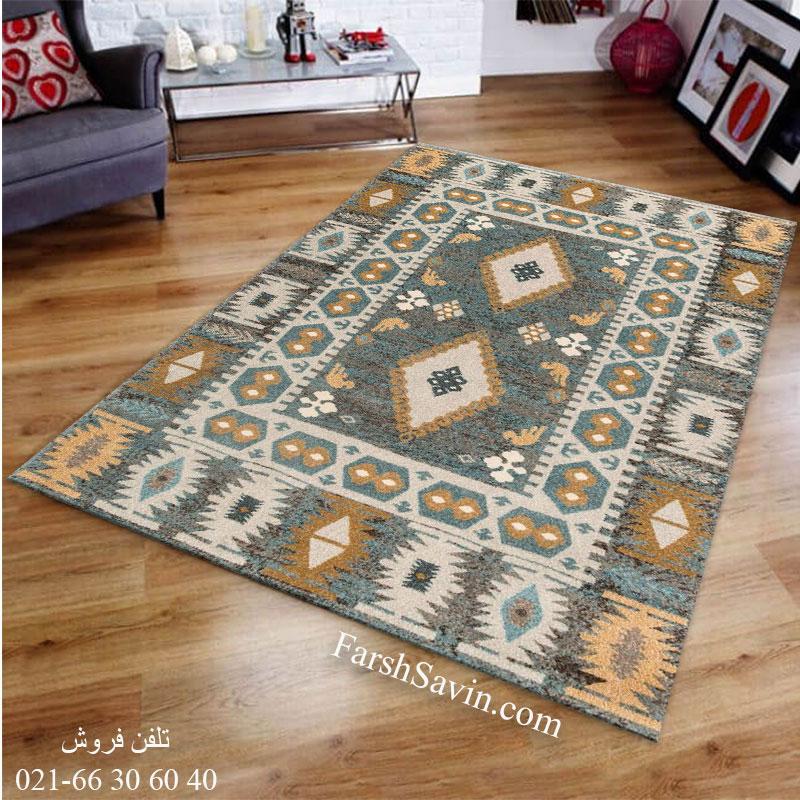 فرش ساوین 4036 آبی فرش سنتی