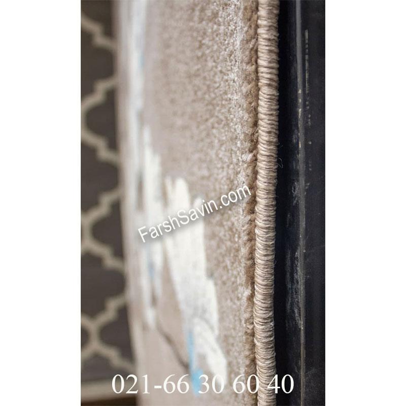 فرش ساوین 4037 شکلاتی فرش خوش رنگ
