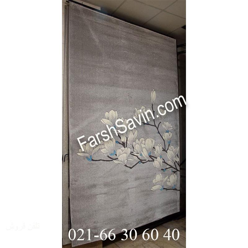 فرش ساوین 4037 نقره ای روشن فرش خاص