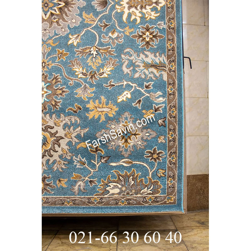 فرش ساوین 4041 آبی فرش سنتی
