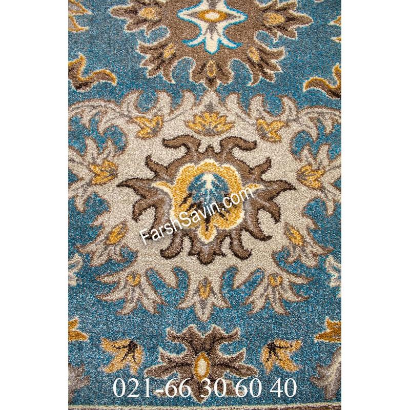 فرش ساوین 4041 آبی فرش فانتزی